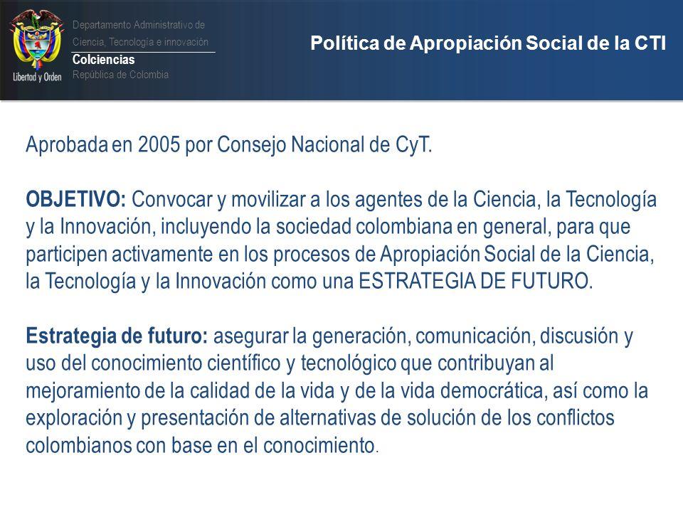 Aprobada en 2005 por Consejo Nacional de CyT.