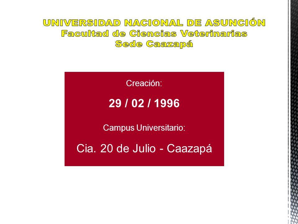UNIVERSIDAD NACIONAL DE ASUNCIÓN Facultad de Ciencias Veterinarias
