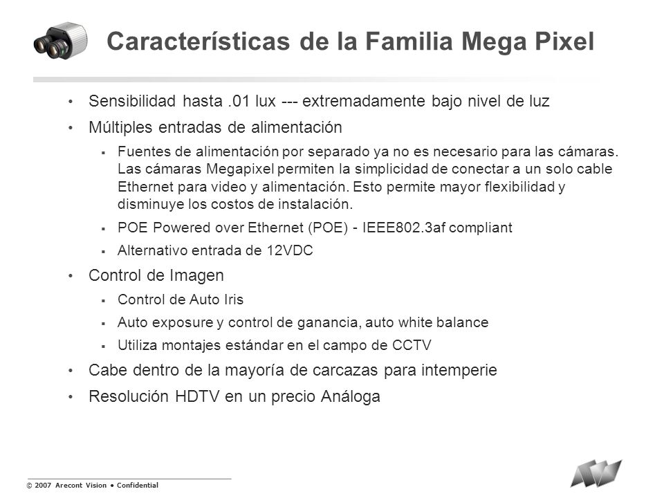 Características de la Familia Mega Pixel