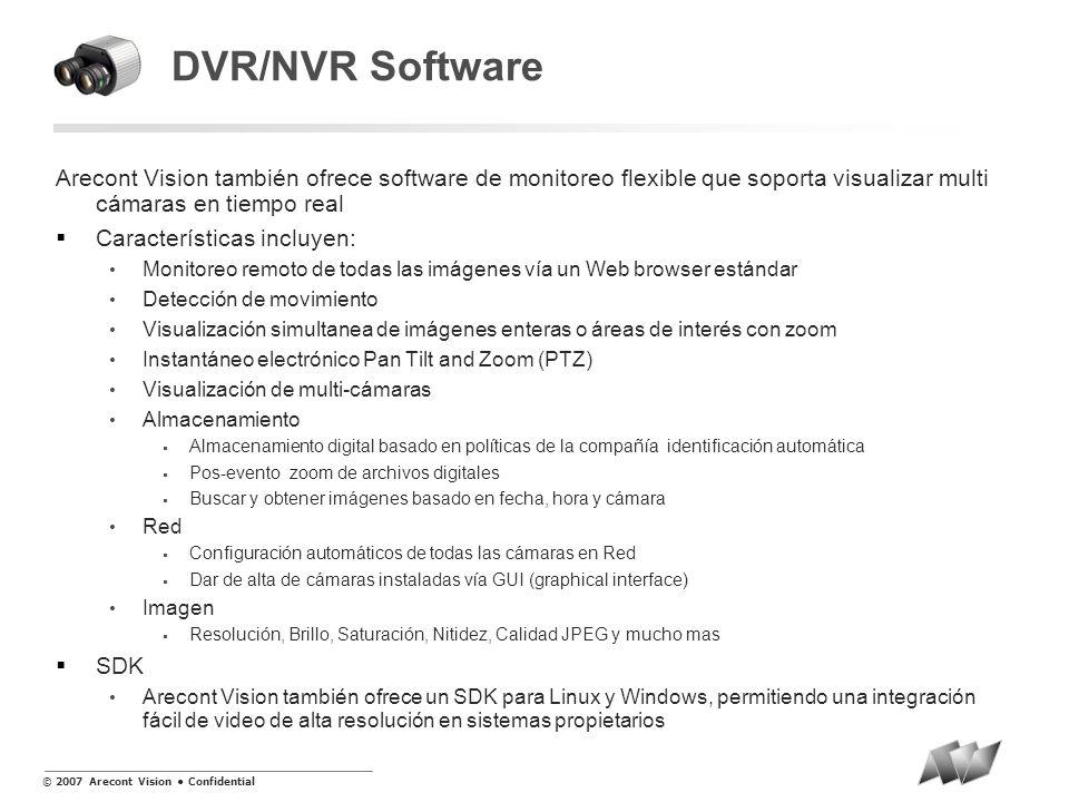 DVR/NVR Software Arecont Vision también ofrece software de monitoreo flexible que soporta visualizar multi cámaras en tiempo real.