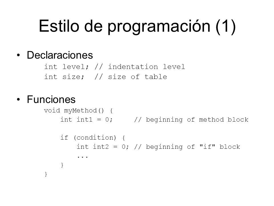 Estilo de programación (1)