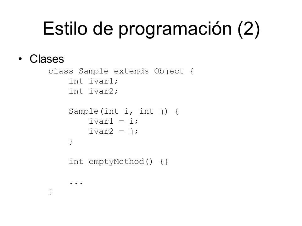 Estilo de programación (2)