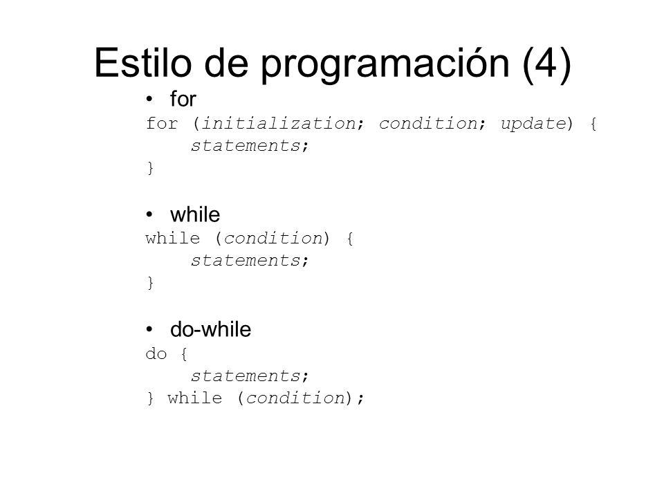 Estilo de programación (4)