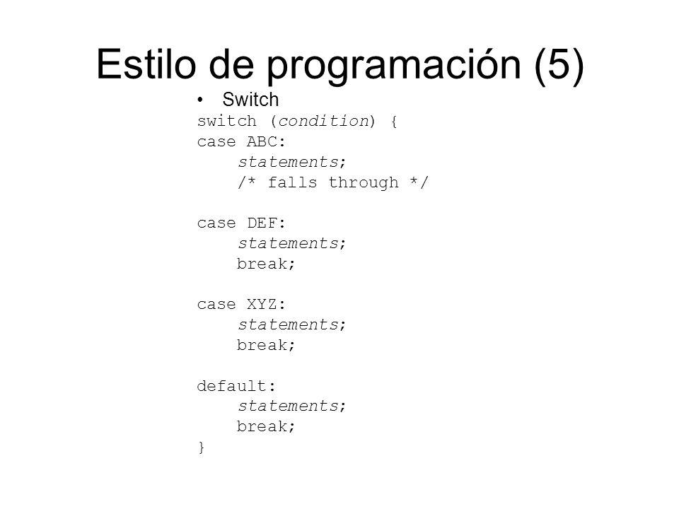 Estilo de programación (5)