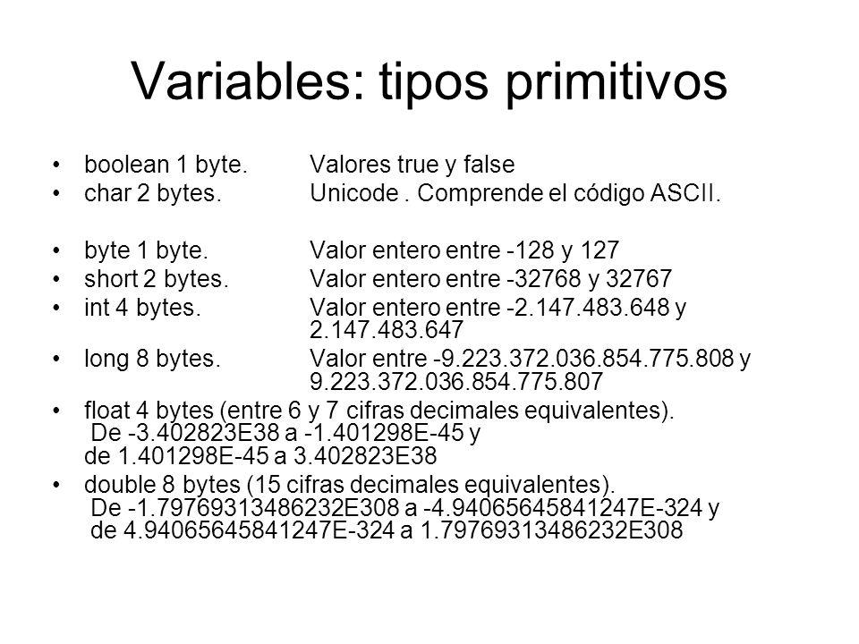 Variables: tipos primitivos