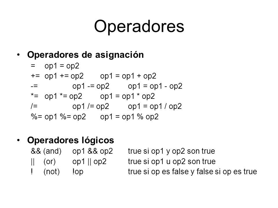 Operadores Operadores de asignación Operadores lógicos = op1 = op2