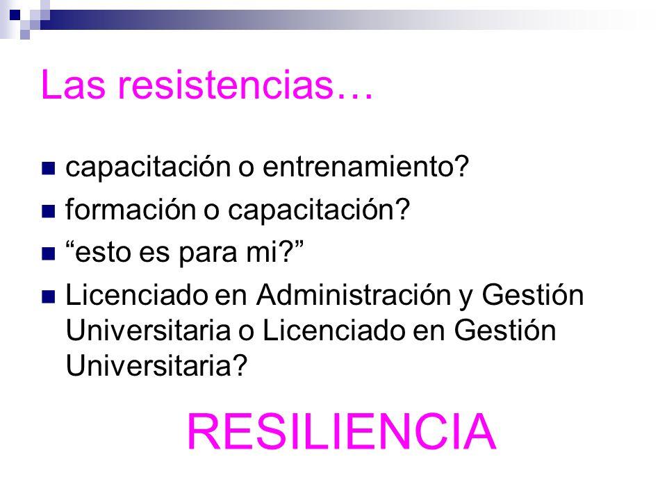 RESILIENCIA Las resistencias… capacitación o entrenamiento