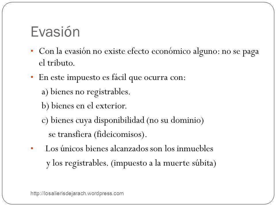 Evasión Con la evasión no existe efecto económico alguno: no se paga el tributo. En este impuesto es fácil que ocurra con: