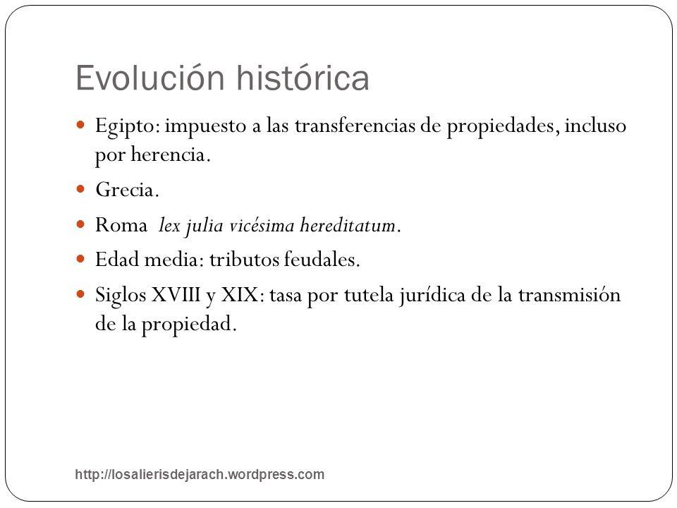 Evolución históricaEgipto: impuesto a las transferencias de propiedades, incluso por herencia. Grecia.