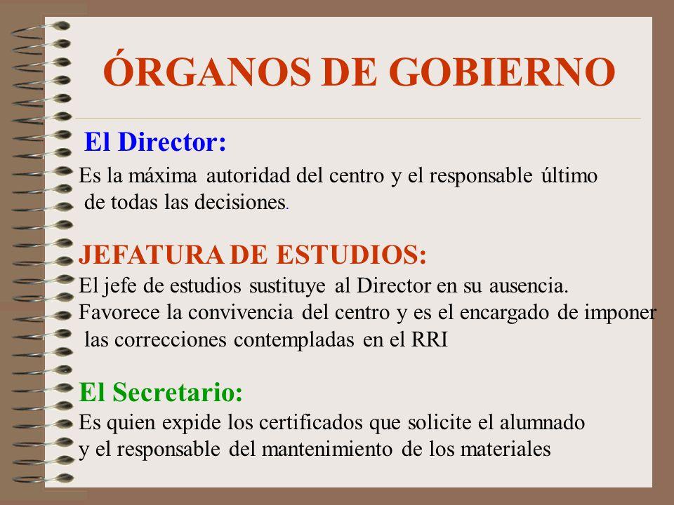 ÓRGANOS DE GOBIERNO El Director: JEFATURA DE ESTUDIOS: El Secretario: