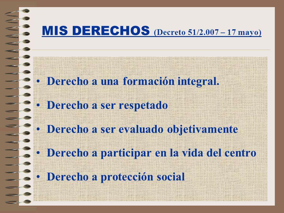 MIS DERECHOS (Decreto 51/2.007 – 17 mayo)