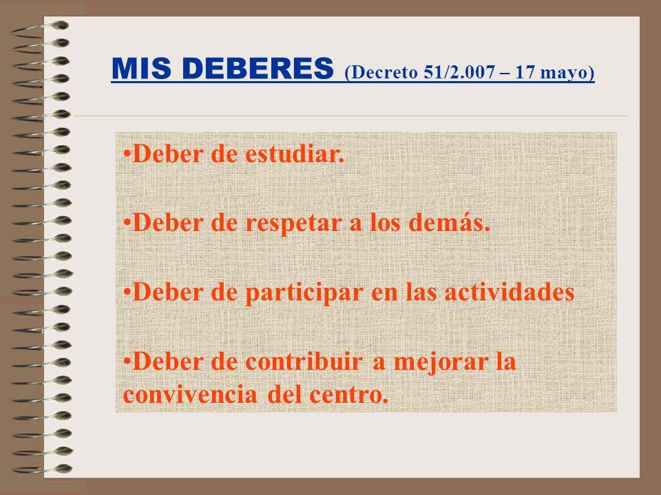 MIS DEBERES (Decreto 51/2.007 – 17 mayo)