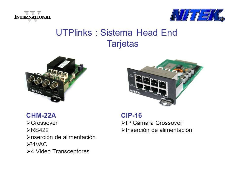 UTPlinks : Sistema Head End Tarjetas