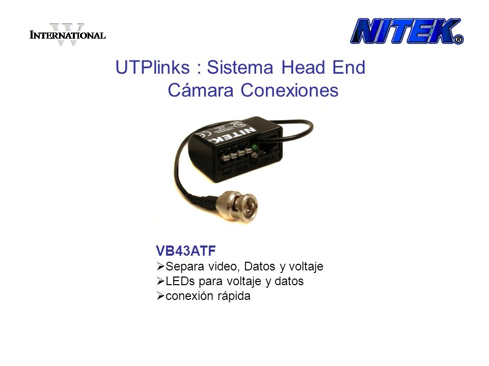 UTPlinks : Sistema Head End Cámara Conexiones