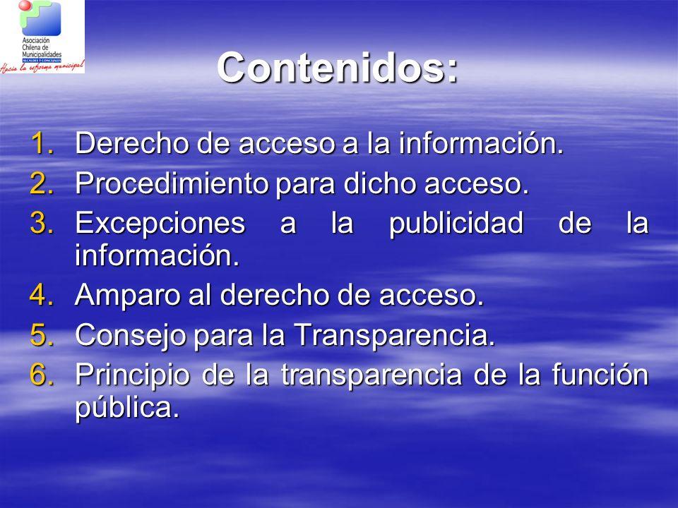 Contenidos: Derecho de acceso a la información.
