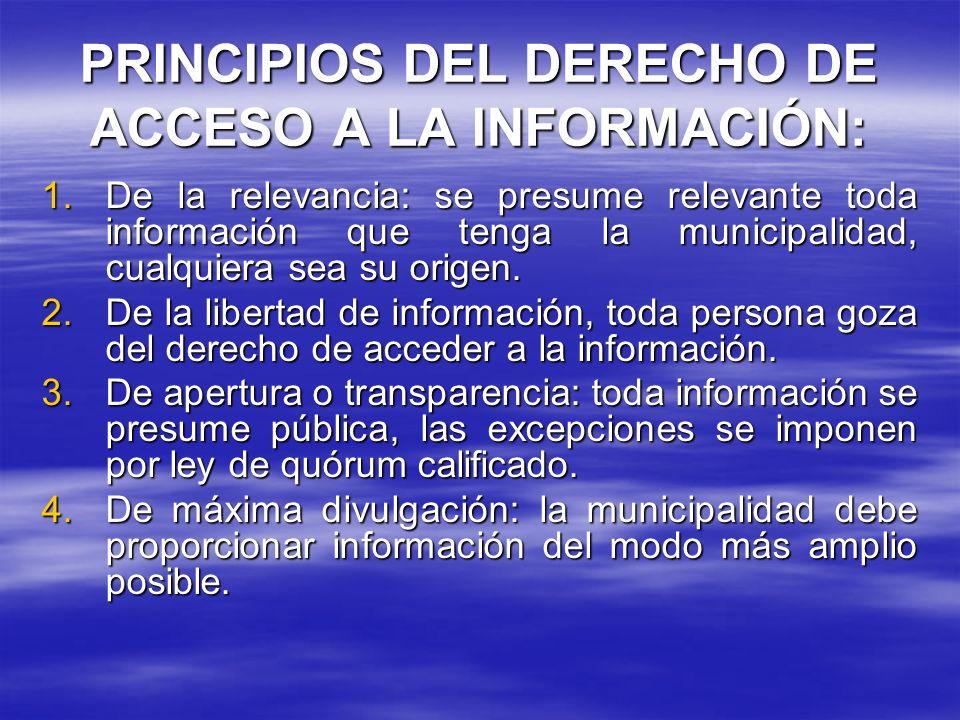 PRINCIPIOS DEL DERECHO DE ACCESO A LA INFORMACIÓN: