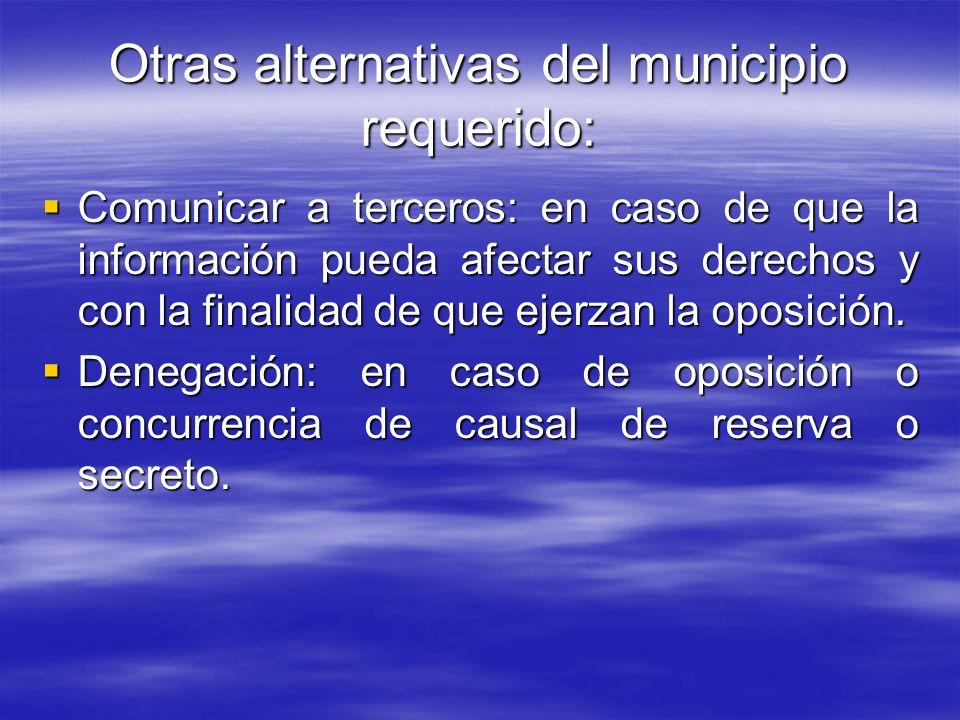 Otras alternativas del municipio requerido: