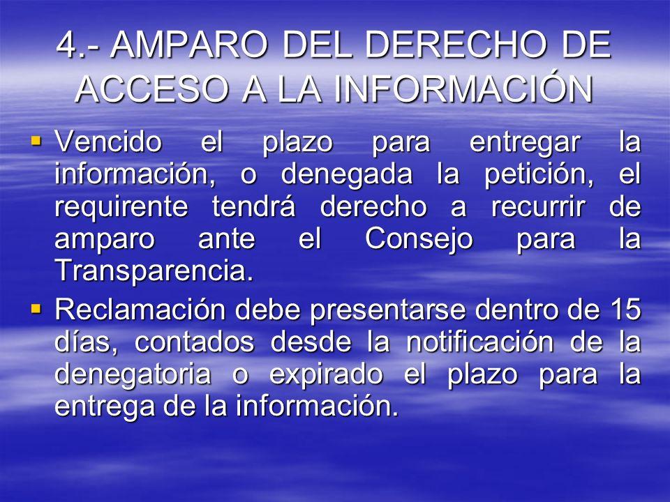 4.- AMPARO DEL DERECHO DE ACCESO A LA INFORMACIÓN