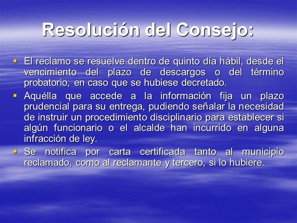 Resolución del Consejo: