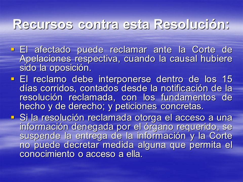 Recursos contra esta Resolución: