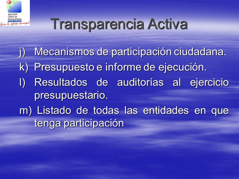 Transparencia Activa j) Mecanismos de participación ciudadana.