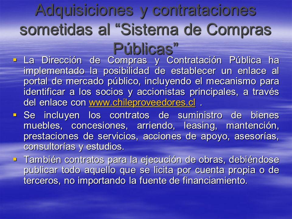 Adquisiciones y contrataciones sometidas al Sistema de Compras Públicas