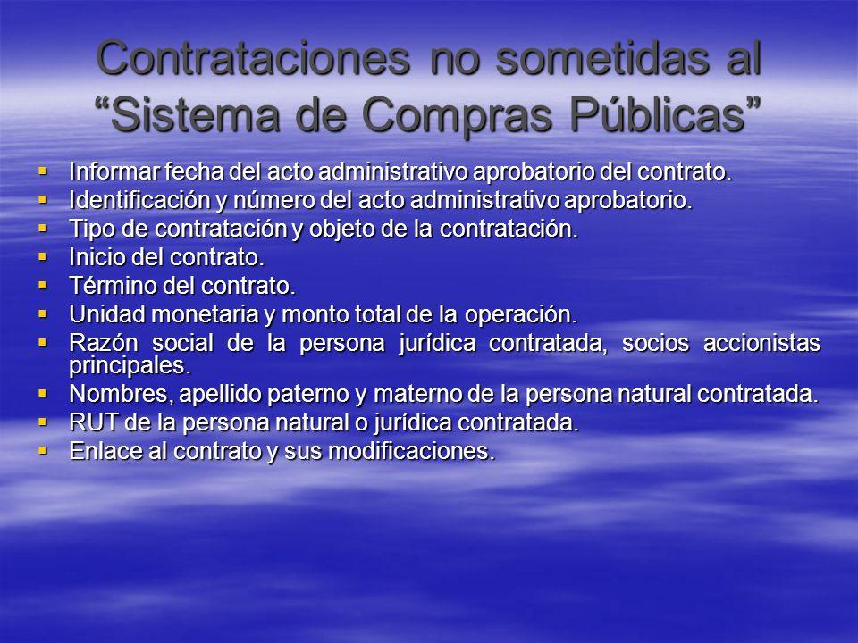 Contrataciones no sometidas al Sistema de Compras Públicas
