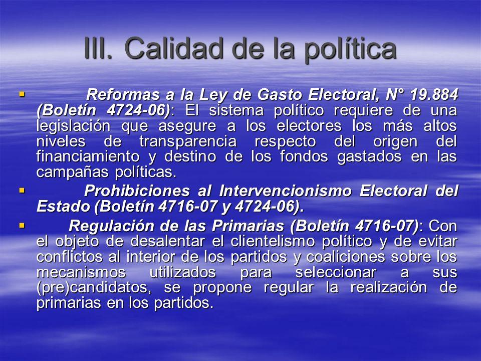 III. Calidad de la política
