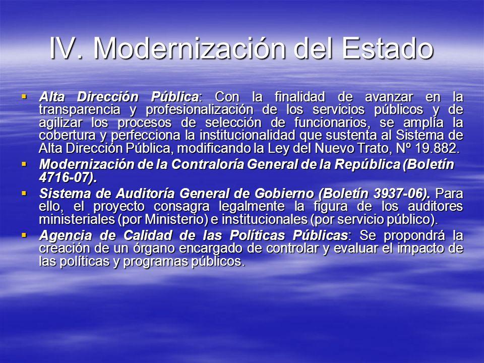 IV. Modernización del Estado