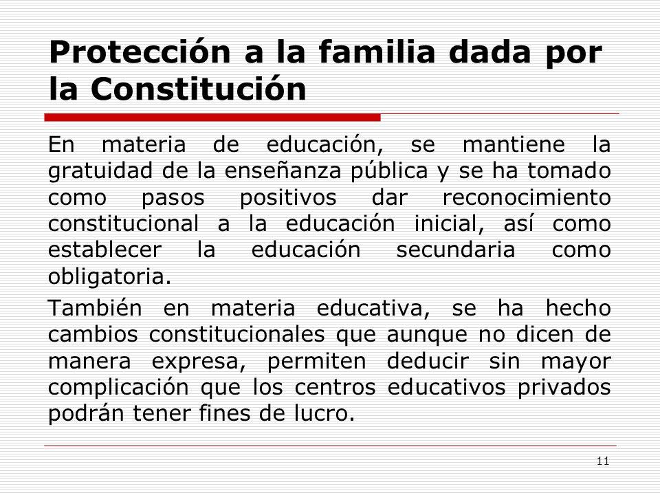 Protección a la familia dada por la Constitución