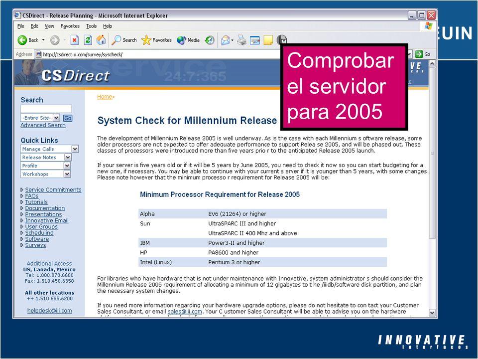 Comprobar el servidor para 2005