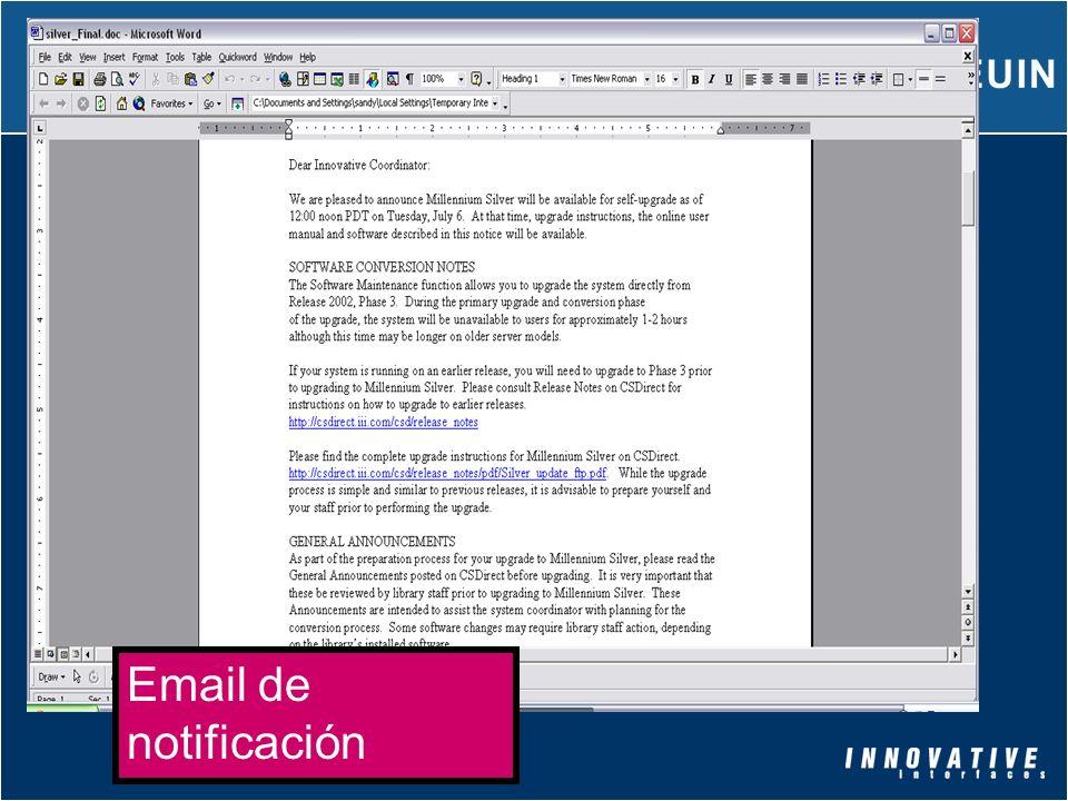 Email de notificación