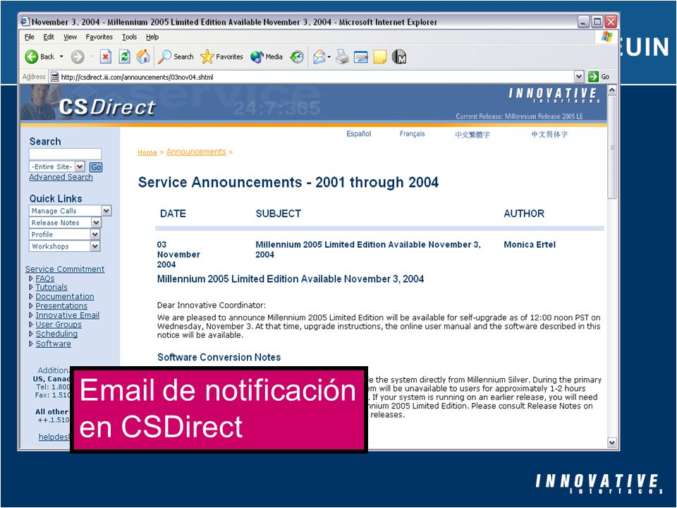 Email de notificación en CSDirect