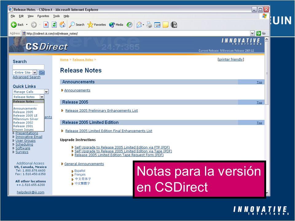 Notas para la versión en CSDirect