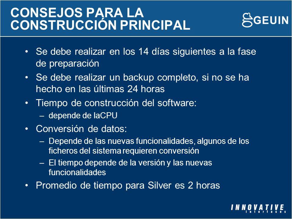 CONSEJOS PARA LA CONSTRUCCIÓN PRINCIPAL