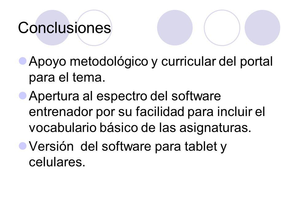 Conclusiones Apoyo metodológico y curricular del portal para el tema.