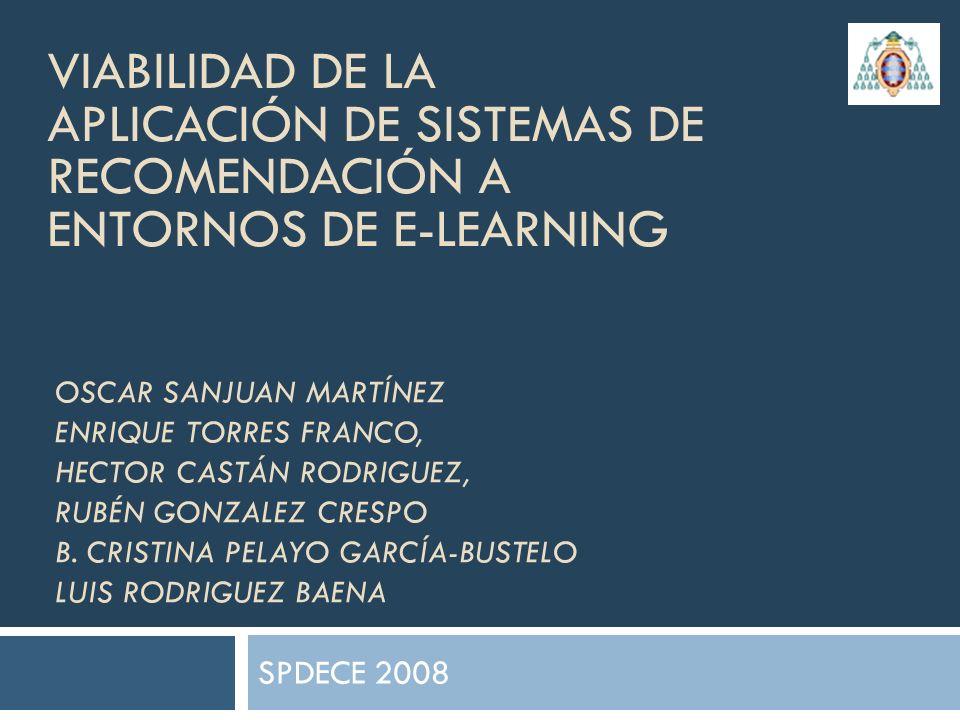 Viabilidad de la aplicación de Sistemas de Recomendación a entornos de e-learning