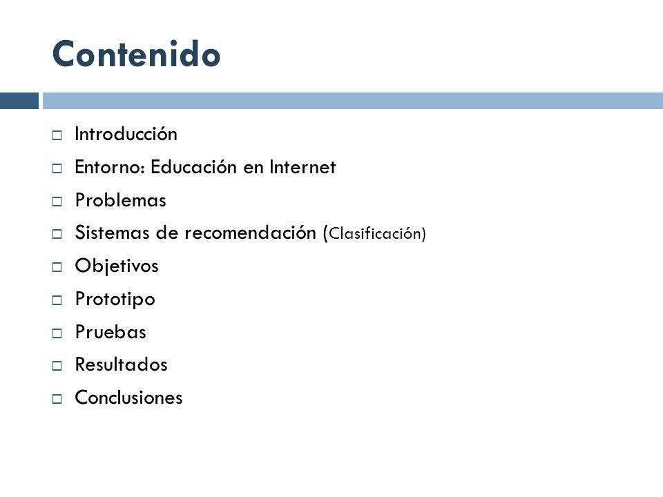 Contenido Introducción Entorno: Educación en Internet Problemas