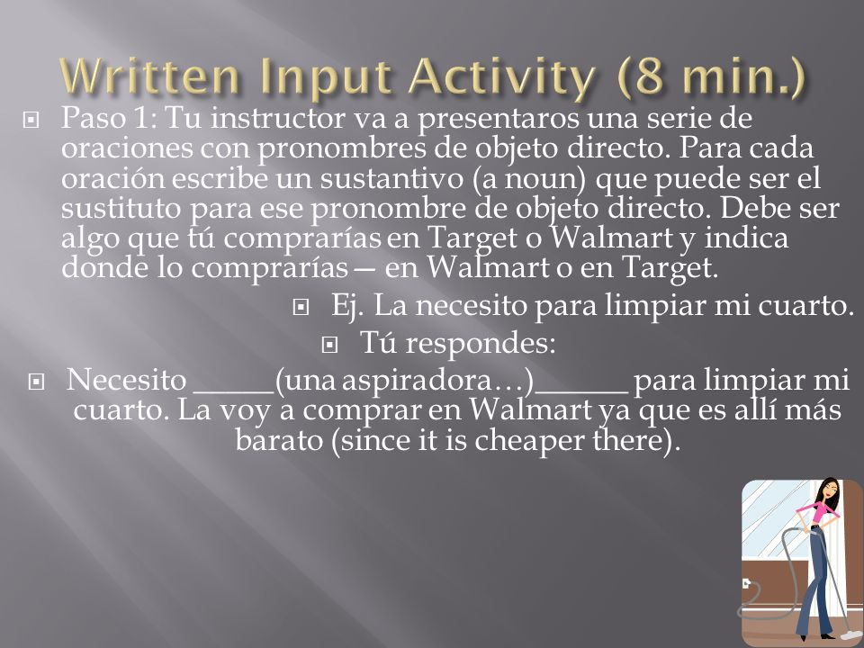 Written Input Activity (8 min.)