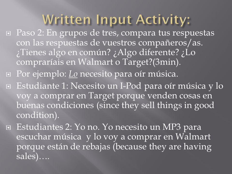 Written Input Activity: