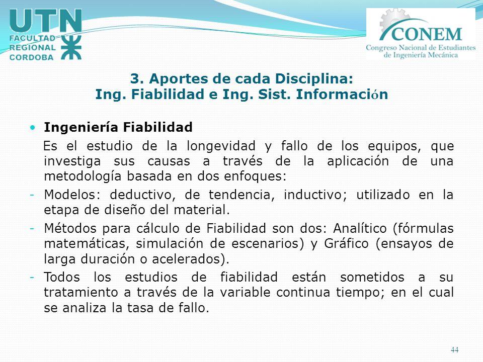3. Aportes de cada Disciplina: Ing. Fiabilidad e Ing. Sist. Información