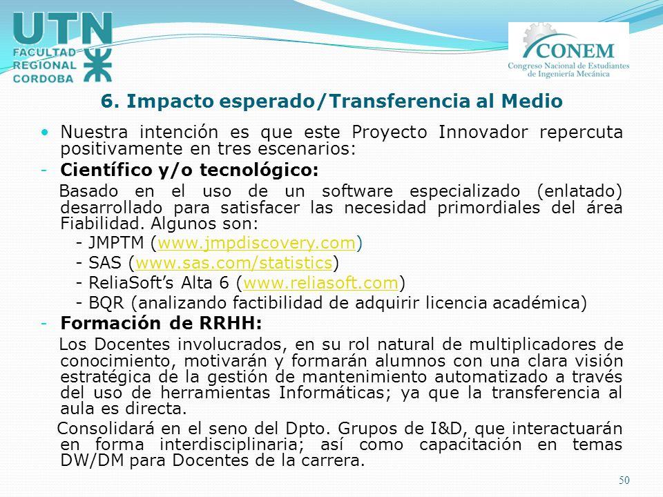6. Impacto esperado/Transferencia al Medio