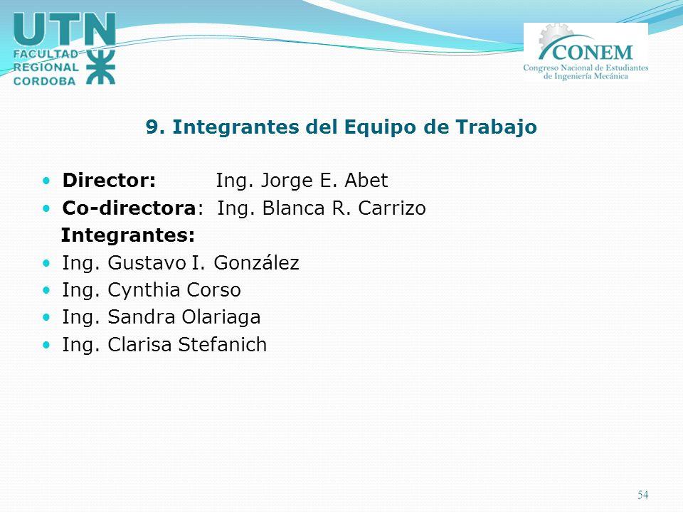 9. Integrantes del Equipo de Trabajo