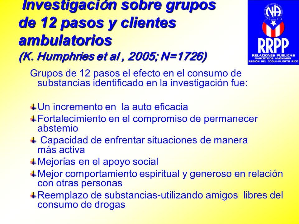 Investigación sobre grupos de 12 pasos y clientes ambulatorios (K