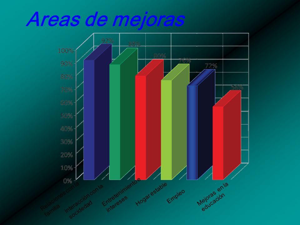 Areas de mejoras Entretenimiento e intereses Mejoras en la educación