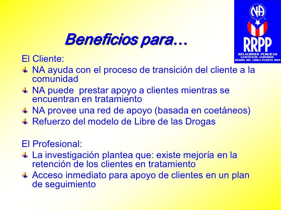 Beneficios para… El Cliente: