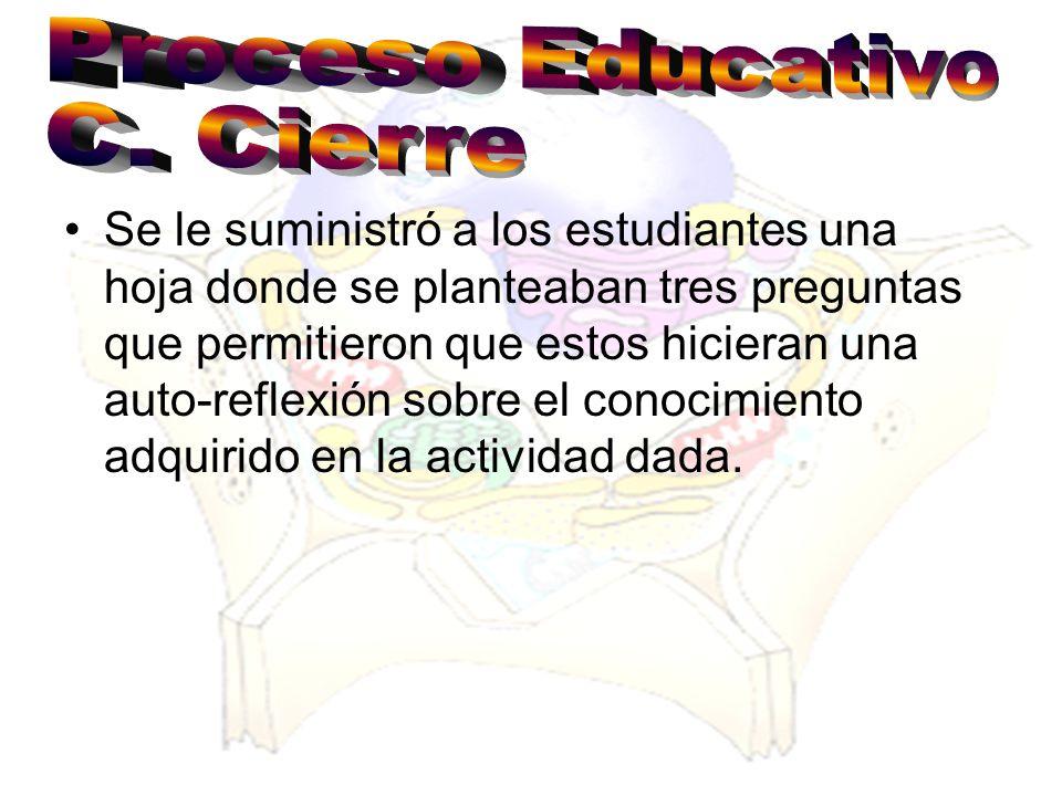Proceso Educativo C. Cierre.
