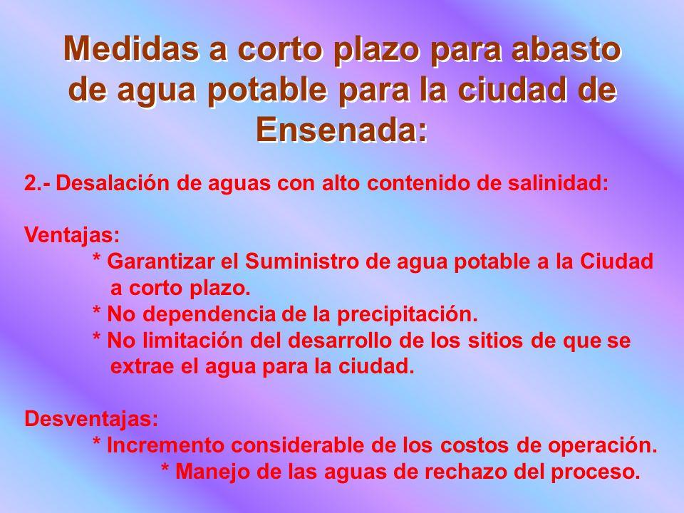 Medidas a corto plazo para abasto de agua potable para la ciudad de Ensenada: