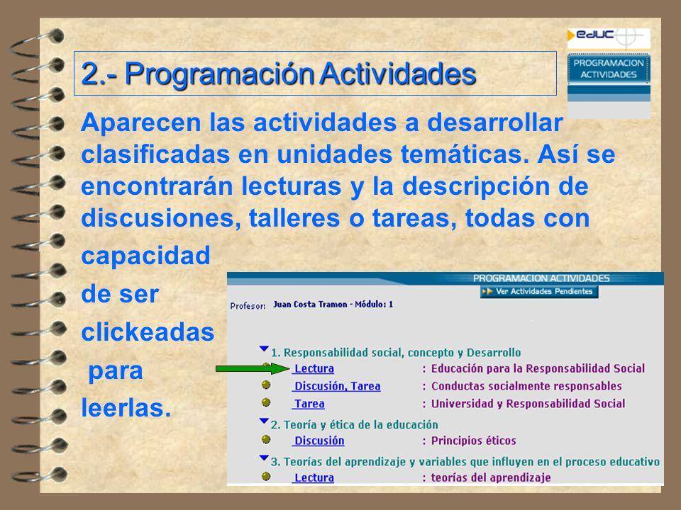 2.- Programación Actividades