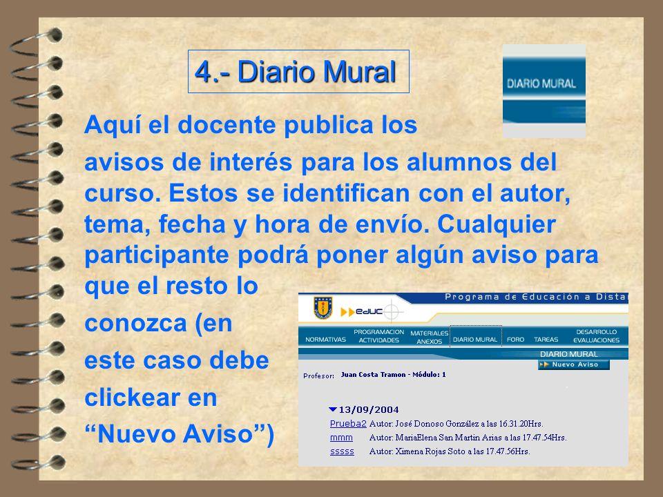 4.- Diario Mural Aquí el docente publica los